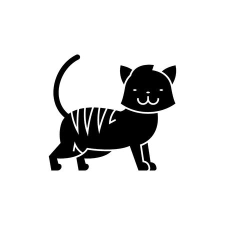 고양이 귀여운 아이콘, 일러스트, 벡터 격리 된 배경에 서명