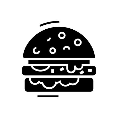 cheese burger line icon, illustration, vector sign on isolated background Ilustração