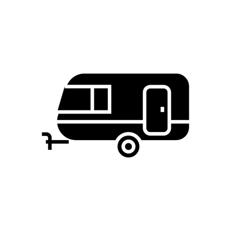 caravan icon, illustration, vector sign on isolated background