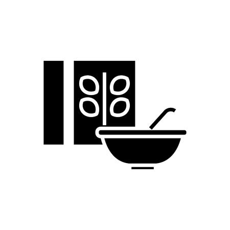 시리얼 - 죽 그릇 및 상자 아이콘, 그림, 벡터 격리 된 배경에 서명 일러스트