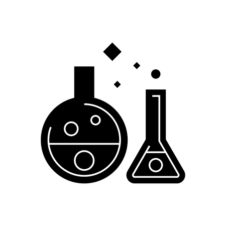 chemistry lab - experiments icon, illustration, vector sign on isolated background Иллюстрация