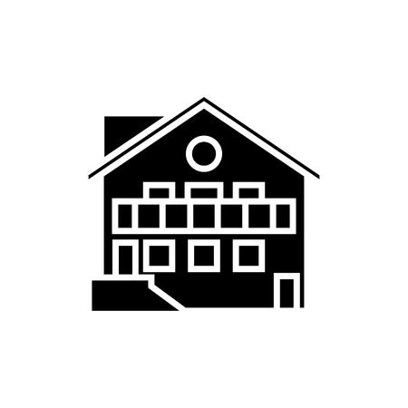 chalet pictogram, illustratie, vector ondertekenen op geïsoleerde achtergrond