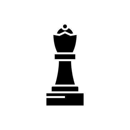 chess - queen icon, illustration, vector sign on isolated background