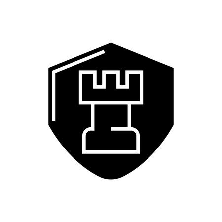 체스 전술 아이콘, 그림, 벡터 격리 된 배경에 서명