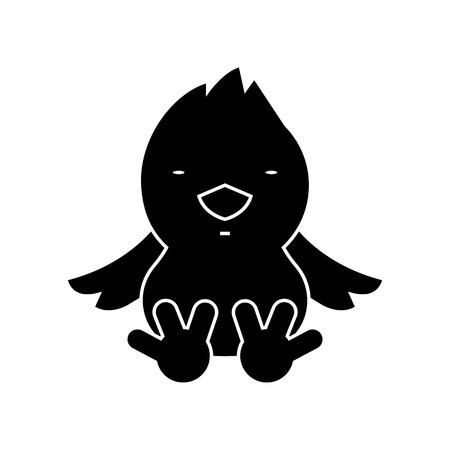 Icono de pollito, ilustración, signo de vector sobre fondo aislado Foto de archivo - 88157478