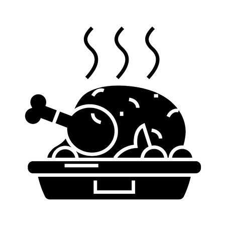chicken dish - roast - grilled icon, illustration, vector sign on isolated background Illustration
