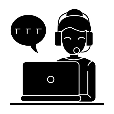call center - woman laptop headset icon, illustration, vector sign on isolated background