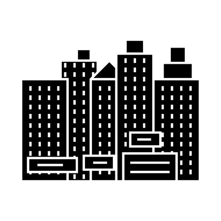 city - new town  icon, illustration, vector sign on isolated background Illustration