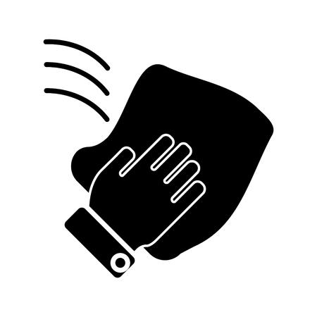 icône de nettoyage gant de toilette de la main, illustration, signe de vecteur sur fond isolé