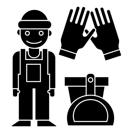 cleaning service - cleaning man, gloves, scoop, bucket icon, illustration, vector sign on isolated background