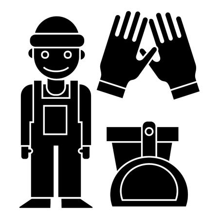 schoonmaakdienst - schoonmaak man, handschoenen, schep, emmer pictogram, illustratie, vector teken op geïsoleerde achtergrond