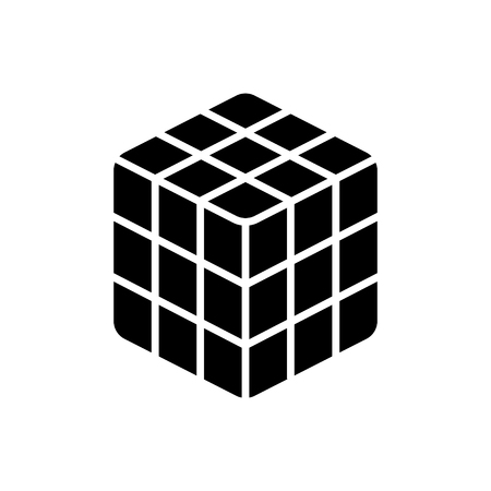 cube rubik icon, illustration, vector sign on isolated background