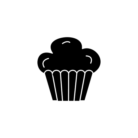 cupcake muffin icon, illustration, vector sign on isolated background