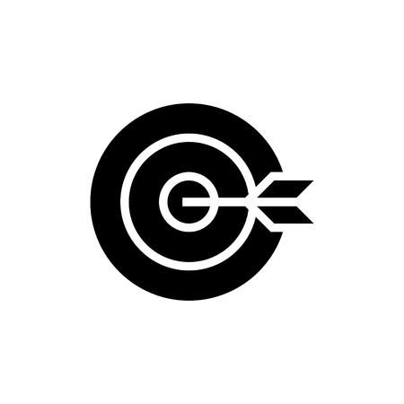 dart board goal icon, illustration, vector sign on isolated background Illustration