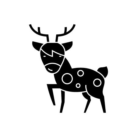 사슴 아이콘, 그림, 벡터 격리 된 배경에 서명