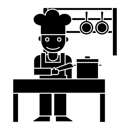 cooker - shef - kitchen restaurant icon, illustration, vector sign on isolated background Illustration