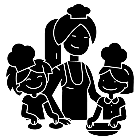 cooking woman with kids - bakery family icon, illustration, vector sign on isolated background