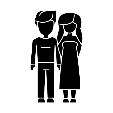 couple in love - young icon, illustration, vector sign on isolated background Illustration