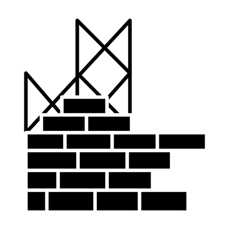construction building brick wall icon, illustration, vector sign on isolated background