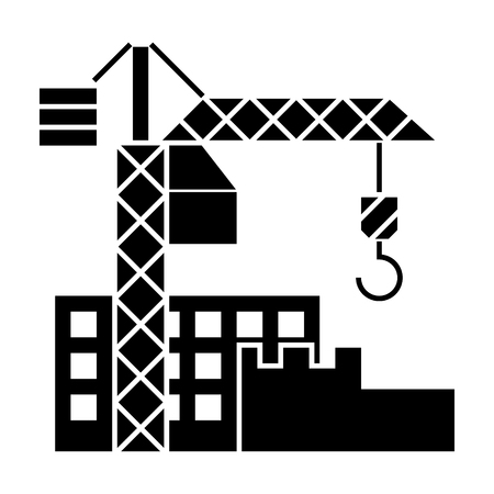 construction buildings icon, illustration, vector sign on isolated background