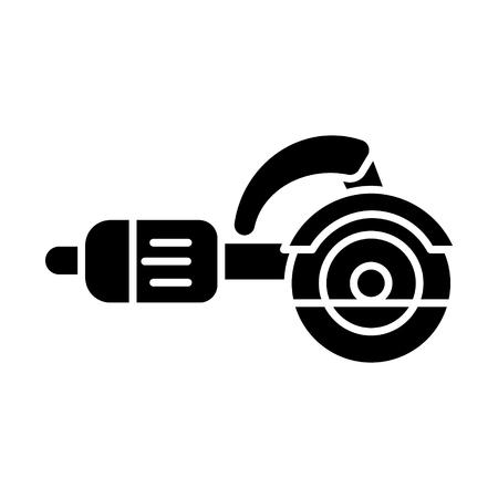bouwhulpmiddelen - het pictogram van de figuurzaagmachine, illustratie, vectorteken op geïsoleerde achtergrond