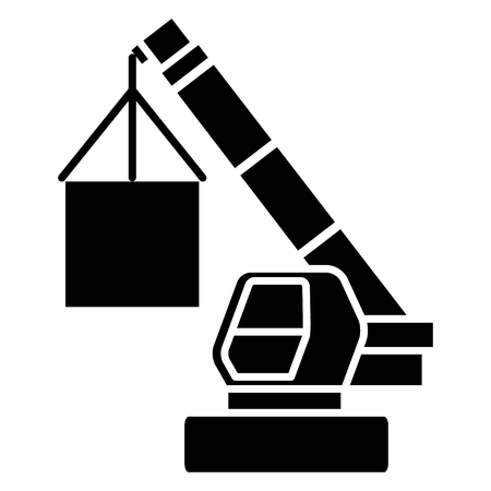 crane cargo logistics icon, illustration, vector sign on isolated background