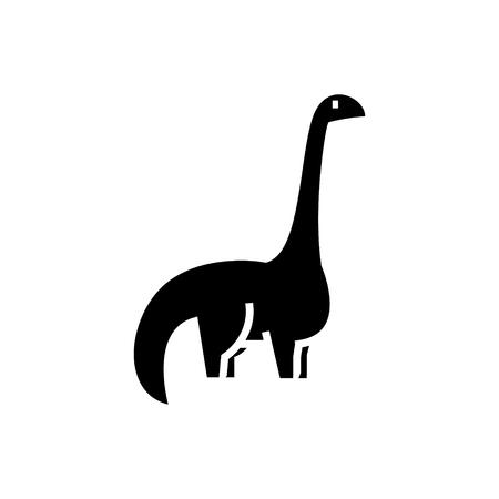 dinosaurus - diplodocus pictogram, illustratie, vector teken op geïsoleerde achtergrond Stock Illustratie
