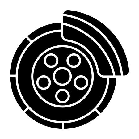 ディスク ブレーキ - サービスの車のアイコン、イラスト、ベクトルに孤立した背景に署名します。  イラスト・ベクター素材