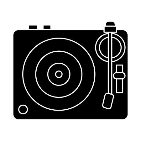 DJ vinyl - draaitafel pictogram, illustratie, vector teken op geïsoleerde achtergrond Stock Illustratie