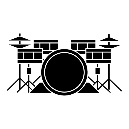 drums - drum set icon, illustration, vector sign on isolated background
