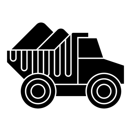 dumper truck with sand icon, illustration, vector sign on isolated background