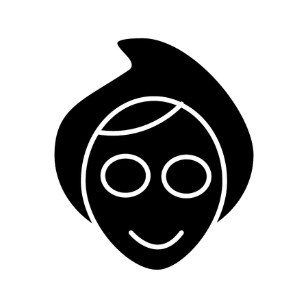 顔はスパ マスク アイコン、イラスト、ベクトル分離背景に記号  イラスト・ベクター素材