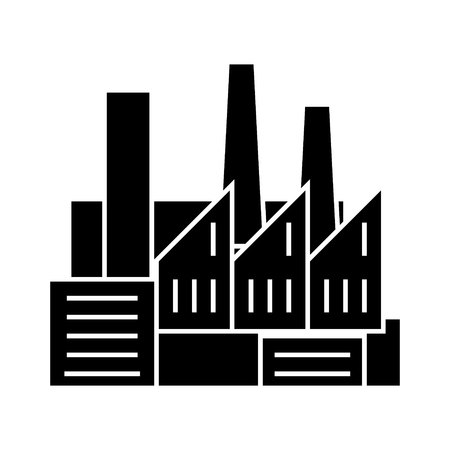 factory - production - pipes with smoke icon, illustration, vector sign on isolated background