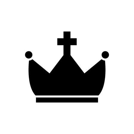 crown with cross icon, illustration, vector sign on isolated background Imagens - 88157630