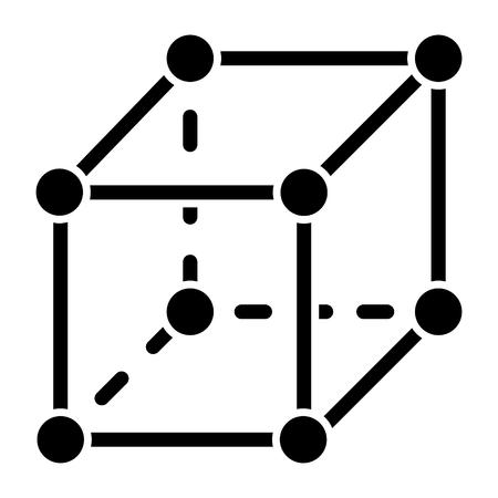 큐브 분자 아이콘, 그림, 벡터 격리 된 배경에 서명 일러스트