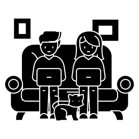 family at sofa working on laptops with cat icon, illustration, vector sign on isolated background