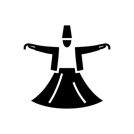 dervish dance - islam icon, illustration, vector sign on isolated background Illustration