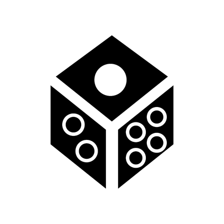 dice - game cube icon, illustration, vector sign on isolated background