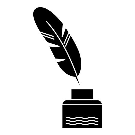 Plume à l'encre d'écriture - icône de la littérature, illustration, signe de vecteur sur fond isolé Banque d'images - 88157654