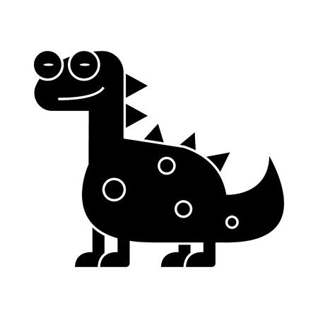 dino - dinosaur cute icon, illustration, vector sign on isolated background Illustration