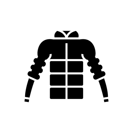 down jacket icon, illustration, vector sign on isolated background