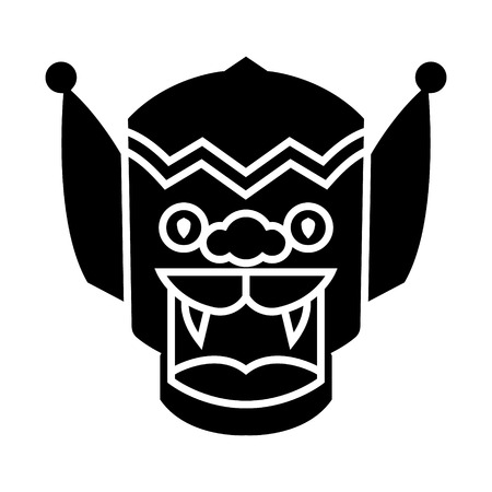 Dragon - icône, illustration, vecteur, porcelaine, signe, sur, isolé, fond Banque d'images - 88157673