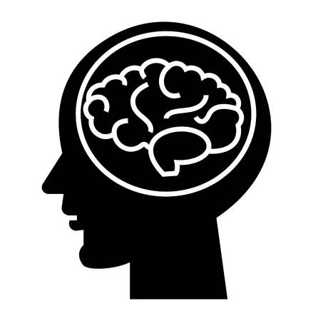 brain head - brainstorm in mind icon, illustration, vector sign on isolated background Illustration