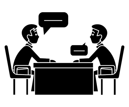 discussion two partners - interview - questioning - examination icon, illustration, vector sign on isolated background
