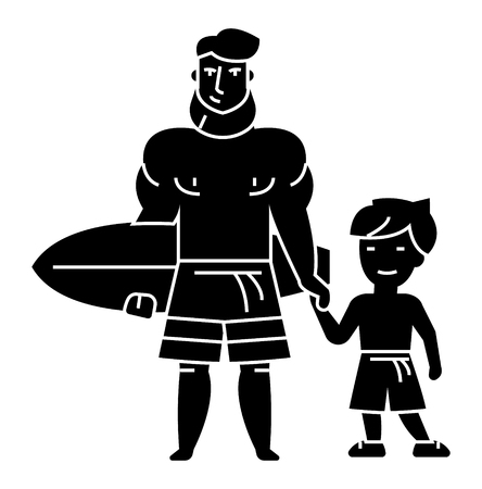 father with son on vacation with surfing board icon, illustration, vector sign on isolated background