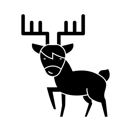 elk cute icon, illustration, vector sign on isolated background