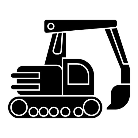 excavator icon, illustration, vector sign on isolated background Vettoriali