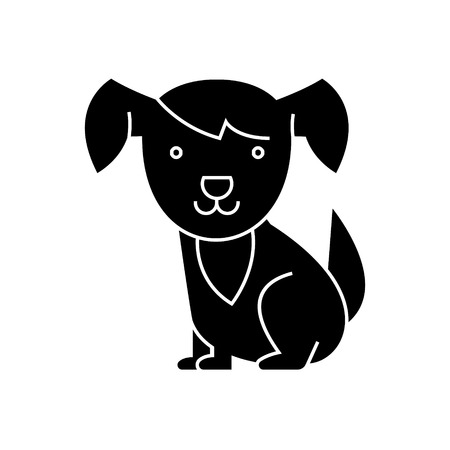dog cute icon, illustration, vector sign on isolated background