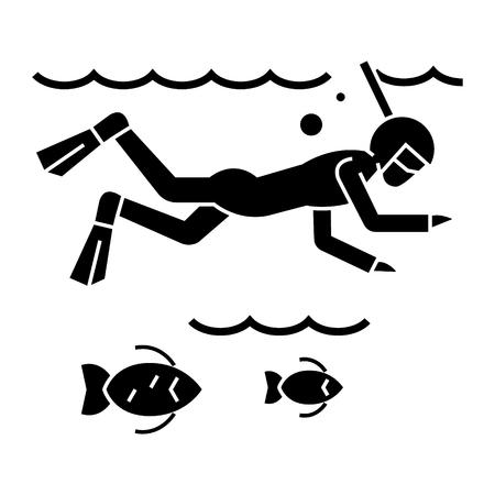 魚 - スキューバ ダイビング - シュノーケ リング アイコン、イラスト、海でのダイビング ベクトル分離背景に記号