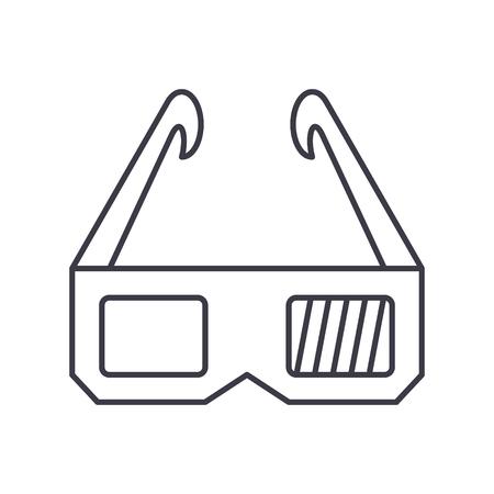 3 d 眼鏡のアイコン、ベクトル図では、孤立の背景に黒い印